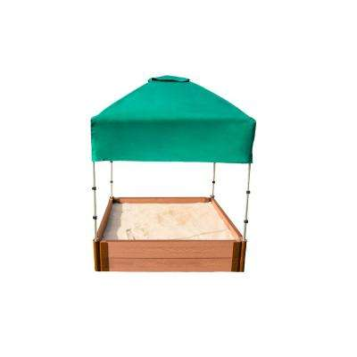 Classic Sienna 4 ft. x 4 ft. x 11 in. Composite Square Sandbox Kit with Telescoping Canopy/Cover - 1 in. profile