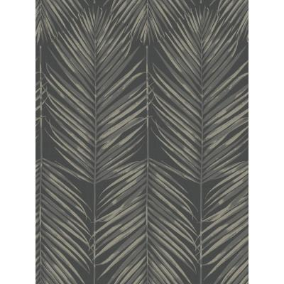 Paradise Black Sands Palm Leaf Wallpaper