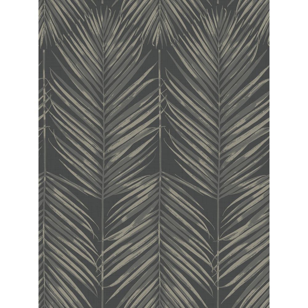 Seabrook Designs Paradise Black Sands Palm Leaf Wallpaper MB30000