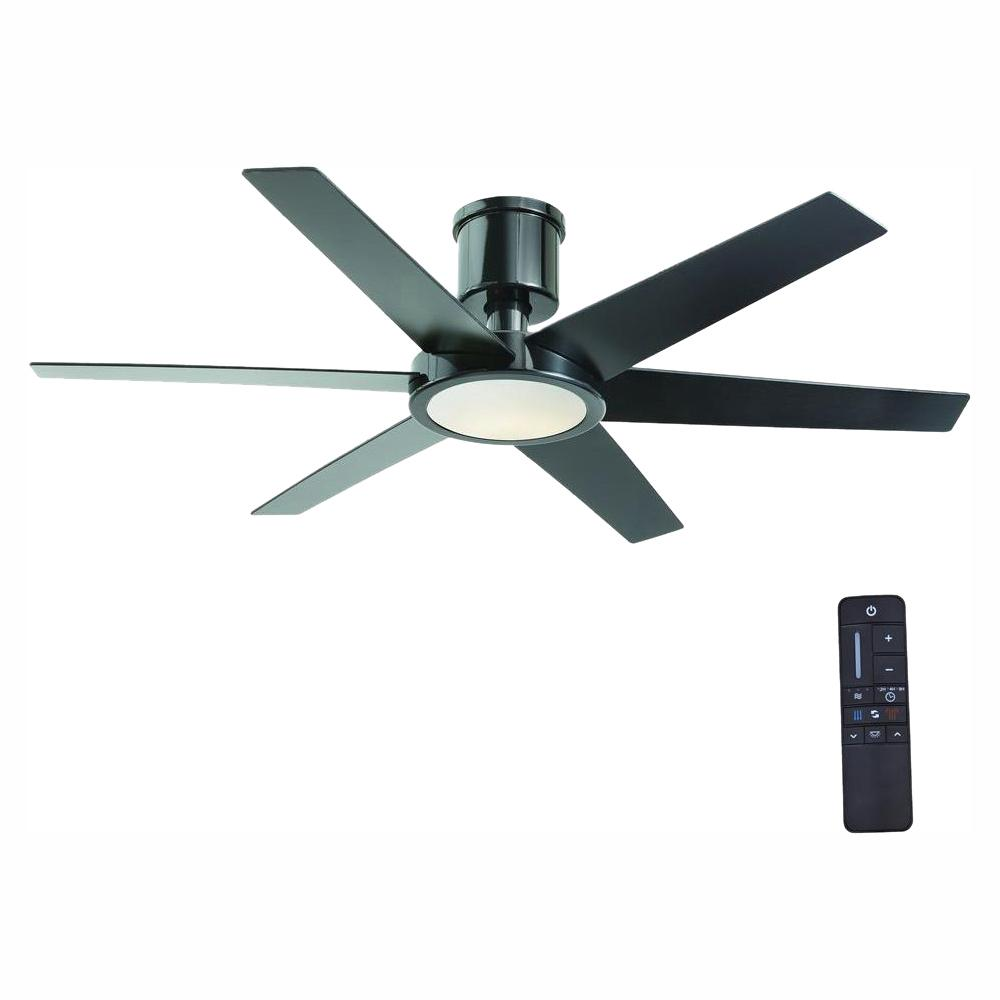 Home Decorators Collection Clermont 52 in. LED Indoor Glossy Black Ceiling Fan with Light Kit and Remote Control