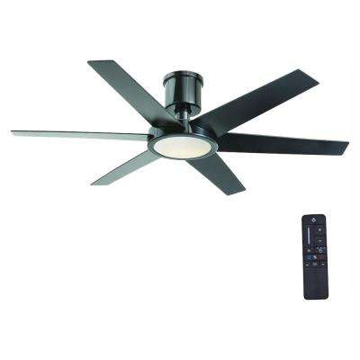 Clermont 52 in. LED Indoor Glossy Black Ceiling Fan with Light Kit and Remote Control