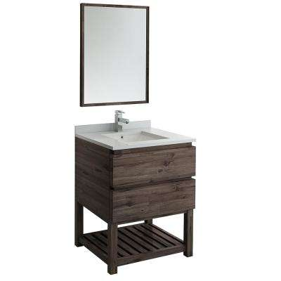 30 in. Modern Vanity with Open Bottom in Warm Gray with Quartz Stone Vanity Top in White with White Basin and Mirror