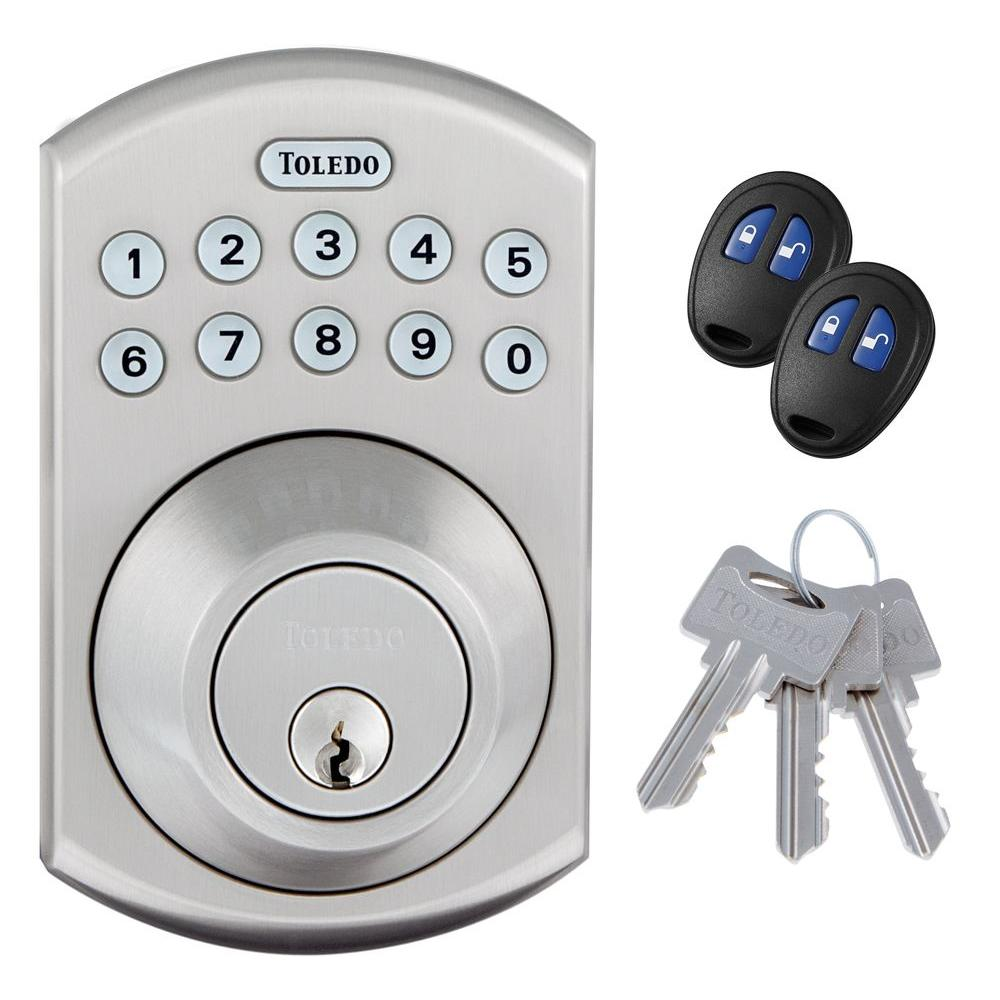toledo fine locks stainless steel electronic deadbolt with remote control cv180e us15 the home. Black Bedroom Furniture Sets. Home Design Ideas