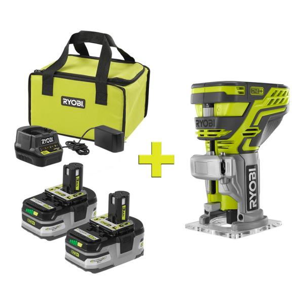 RYOBI 18-Volt ONE+ LITHIUM+ HP 3.0 Ah Battery (2-Pack) Starter Kit with Charger and Bag with Free ONE+ Fixed Base Trim Router