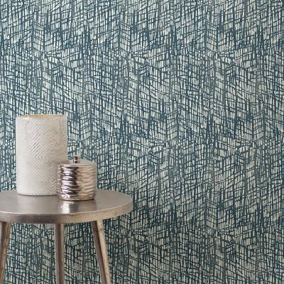 56.4 sq. ft. Shimmer Blue Abstract Texture Wallpaper
