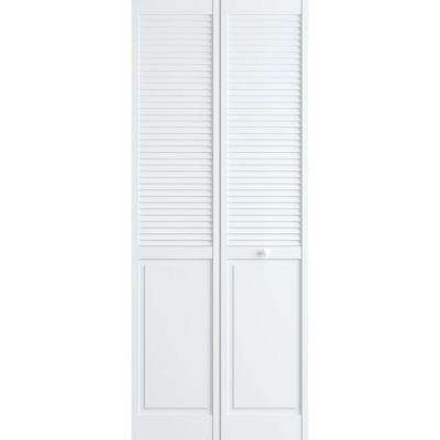30 in. x 80 in. Louver/Panel Pine White Interior Closet Bi-fold Door