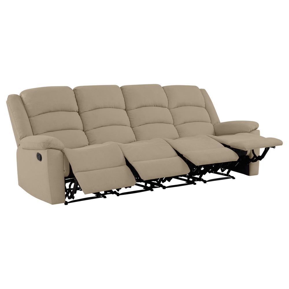 4-Seat Wall Hugger Recliner Sofa in Barley Tan Plush Low-Pile Velvet