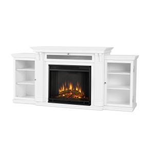 Real Flame Calie 67 inch Entertainment Center Electric Fireplace in White by Real Flame