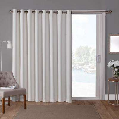 Sateen Patio 100 in. W x 84 in. L Woven Blackout Grommet Top Curtain Panel in Vanilla (1 Panel)