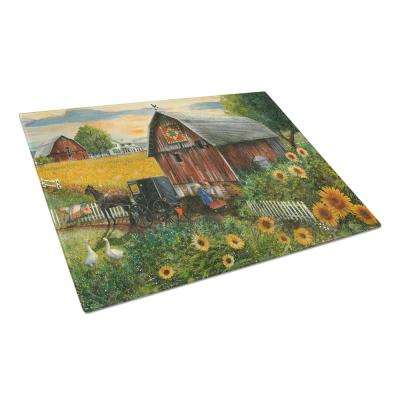 Sunflower Country Paradise Barn Tempered Glass Large Heat Resistant Cutting Board