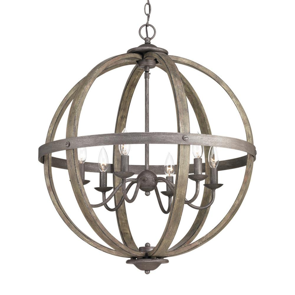 Progress Lighting Keowee Collection 24.13 in. 6-Light Artisan Iron Orb  Chandelier with Elm
