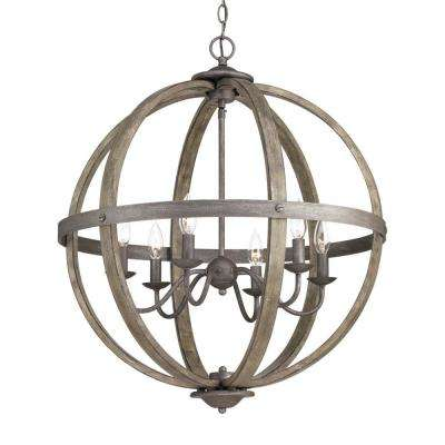 6 Light Iron Orb Chandelier With Elm Wood Accents