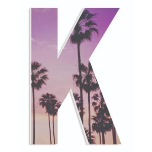 12 In X 18 Palm Trees With A Purple Sunset Photography Initial K By Artist Daphne Poli Wood Wall Art