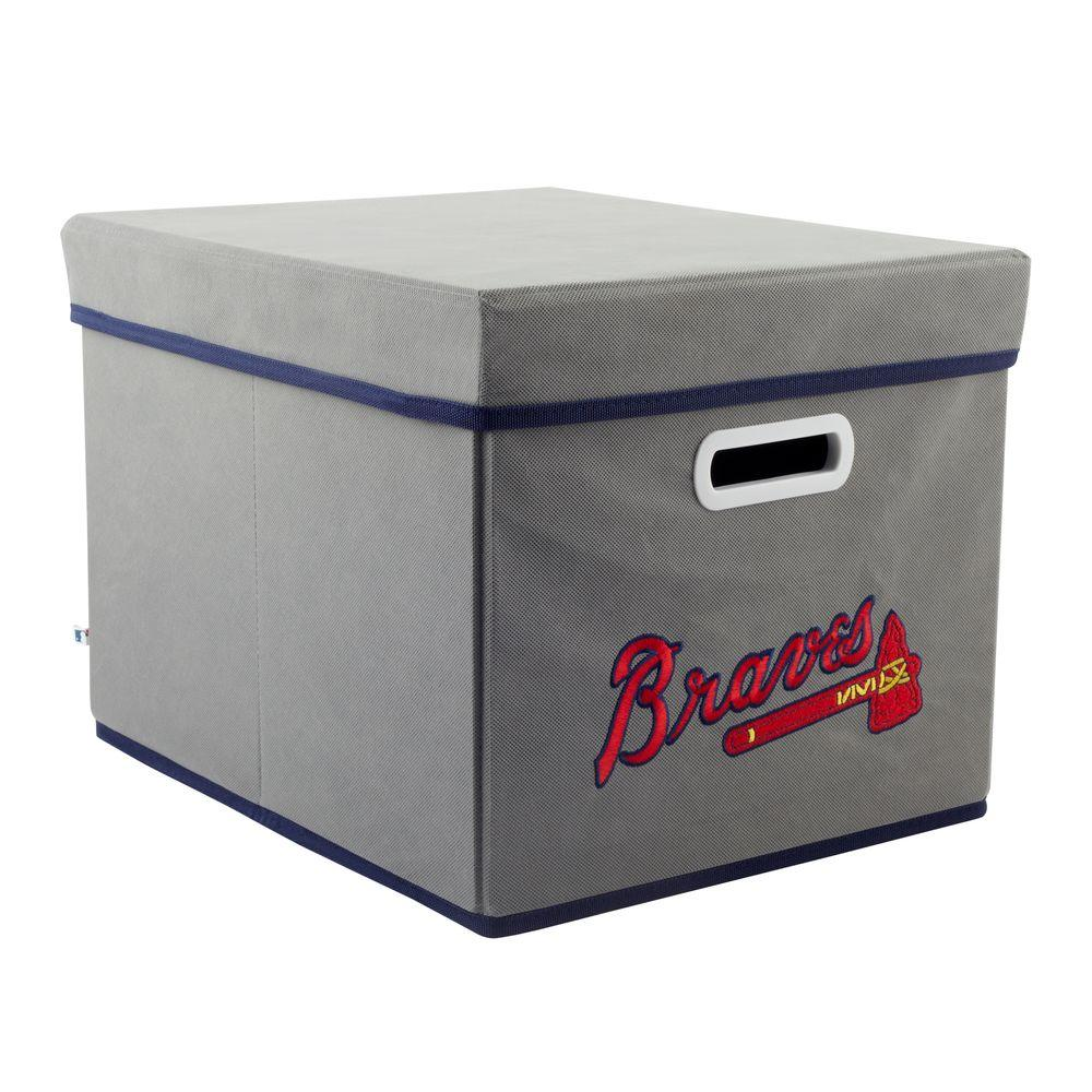 MyOwnersBox MLB STACKITS Atlanta Braves 12 in. x 10 in. x 15 in. Stackable Grey Fabric Storage Cube
