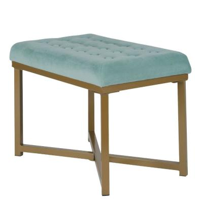 Teal Blue and Gold Metal Framed Bench with Button Tufted Velvet Upholstered Seat 16 in. L x 24 in. W x 17.5 in. H