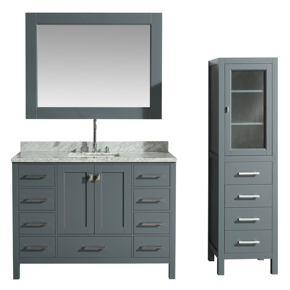 Design Element 48 in. W x 22 in. D Bath Vanity in Gray ...