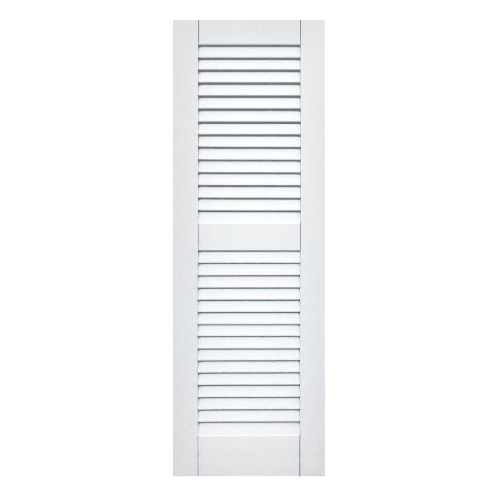Winworks Wood Composite 15 in. x 45 in. Louvered Shutters Pair #631 White