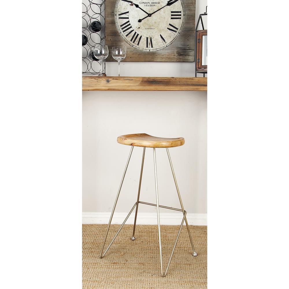 32 in. Silver Metallic Iron Bar Stool with Oak Brown Wooden Seat