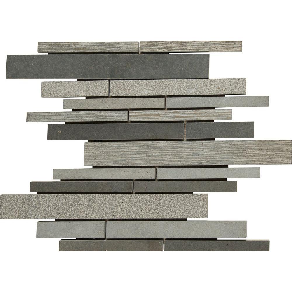 Mystic Grey Interlocking 12 in. x 12 in. x 10 mm Basalt Mesh-Mounted Mosaic Tile (1 sq. ft.)