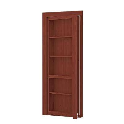32 In. X 80 In. Assembled Cherry Stained Maple Flush Mount Bookcase Wood  Single