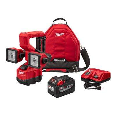 M18 18-Volt Lithium-Ion Cordless Utility Bucket Light Kit W/ High Demand 9.0Ah Battery, Rapid Charger & Tool Bag
