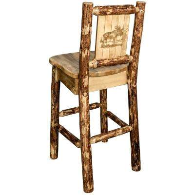 Glacier 30 in. Laser Engraved Moose Motif Bar Stool