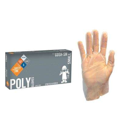 Small Clear Copolymer PE Blend Hybrid Stretch Gloves Powder-Free Bulk 1000 (10-Pack of 100-Count)