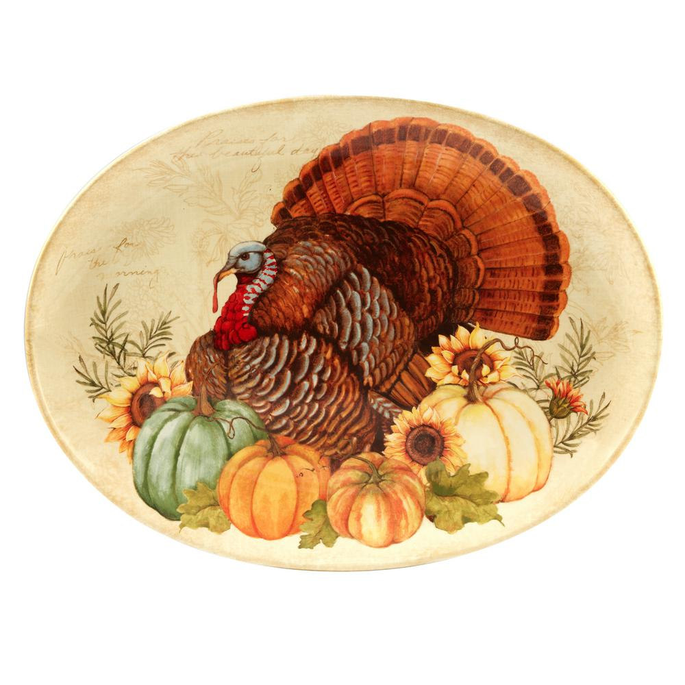 Autumn Fields by Susan Winget 18 in. Oval Turkey Platter