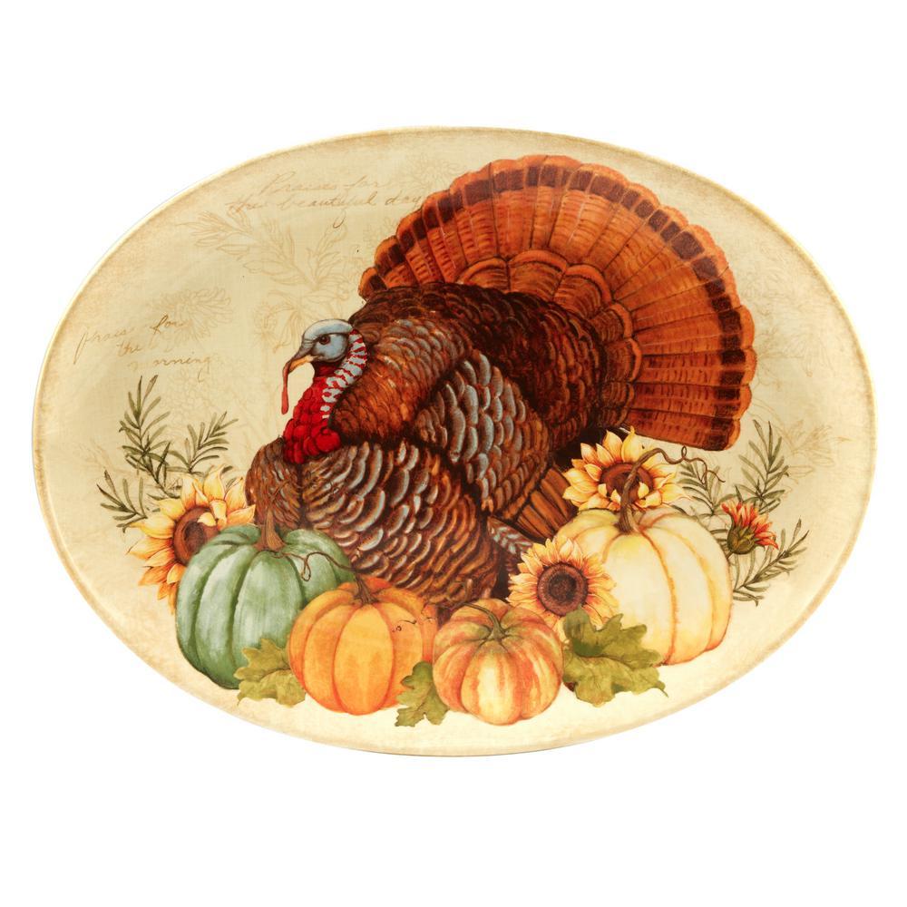 Autumn Fields by Susan Winget 18 in. Oval Turkey Platter