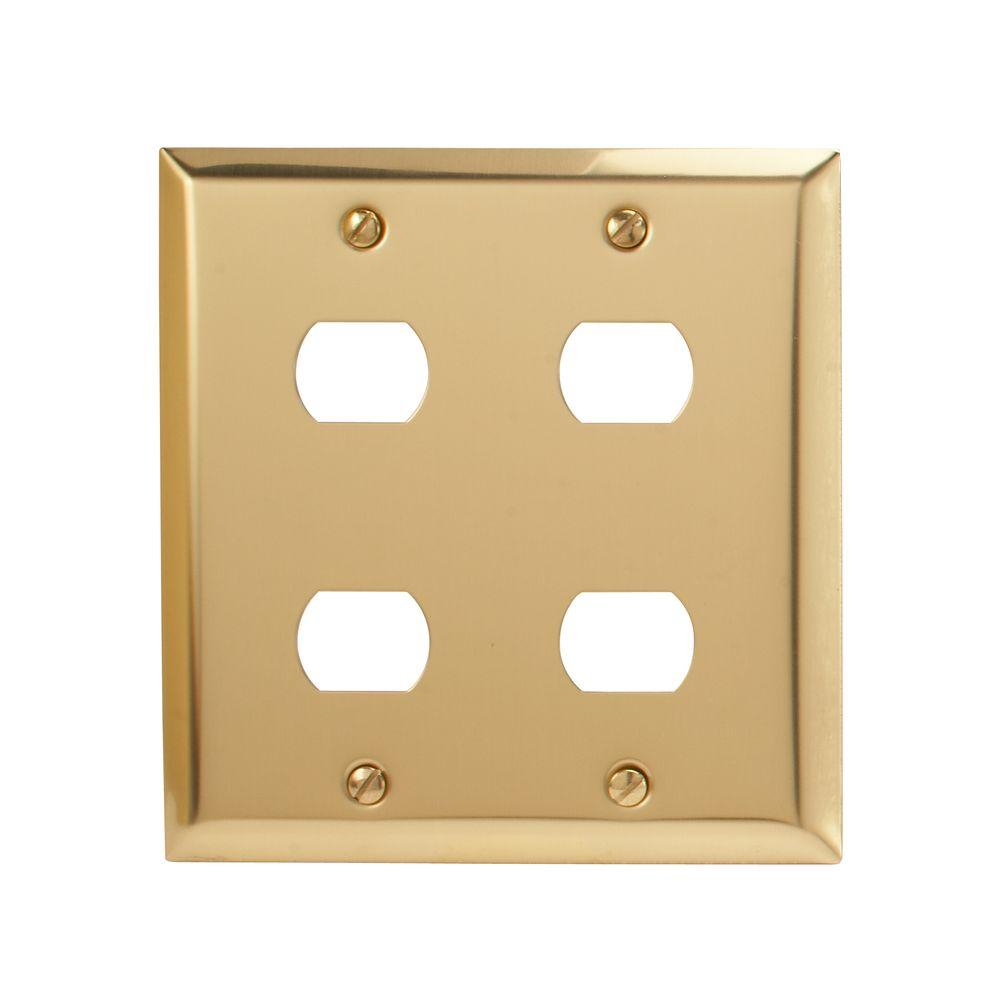 Amerelle Steel 4 Despard Wall Plate - Bright Brass