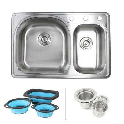 Topmount Drop-In 18-Gauge Stainless Steel 33 in. 3 Hole 70/30 Double Bowl Kitchen Sink w/ Collapsible Silicone Colanders