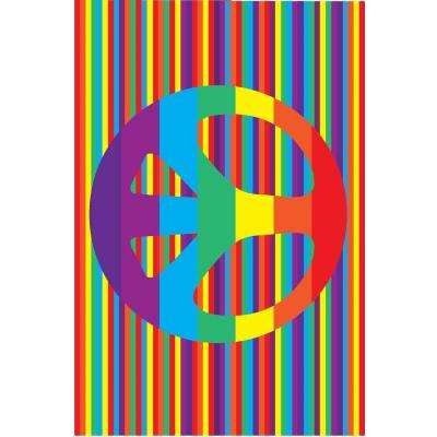 Fun Time Groovy Peace Multi Colored 3 ft. x 5 ft. Area Rug