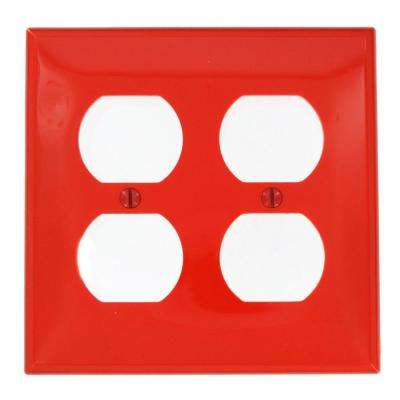 2-Gang Standard Size 2-Duplex Receptacles Nylon Wall Plate, Red