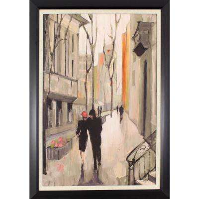 40.5 in. x 28.5 in. Walking in the City Printed Framed Wall Art