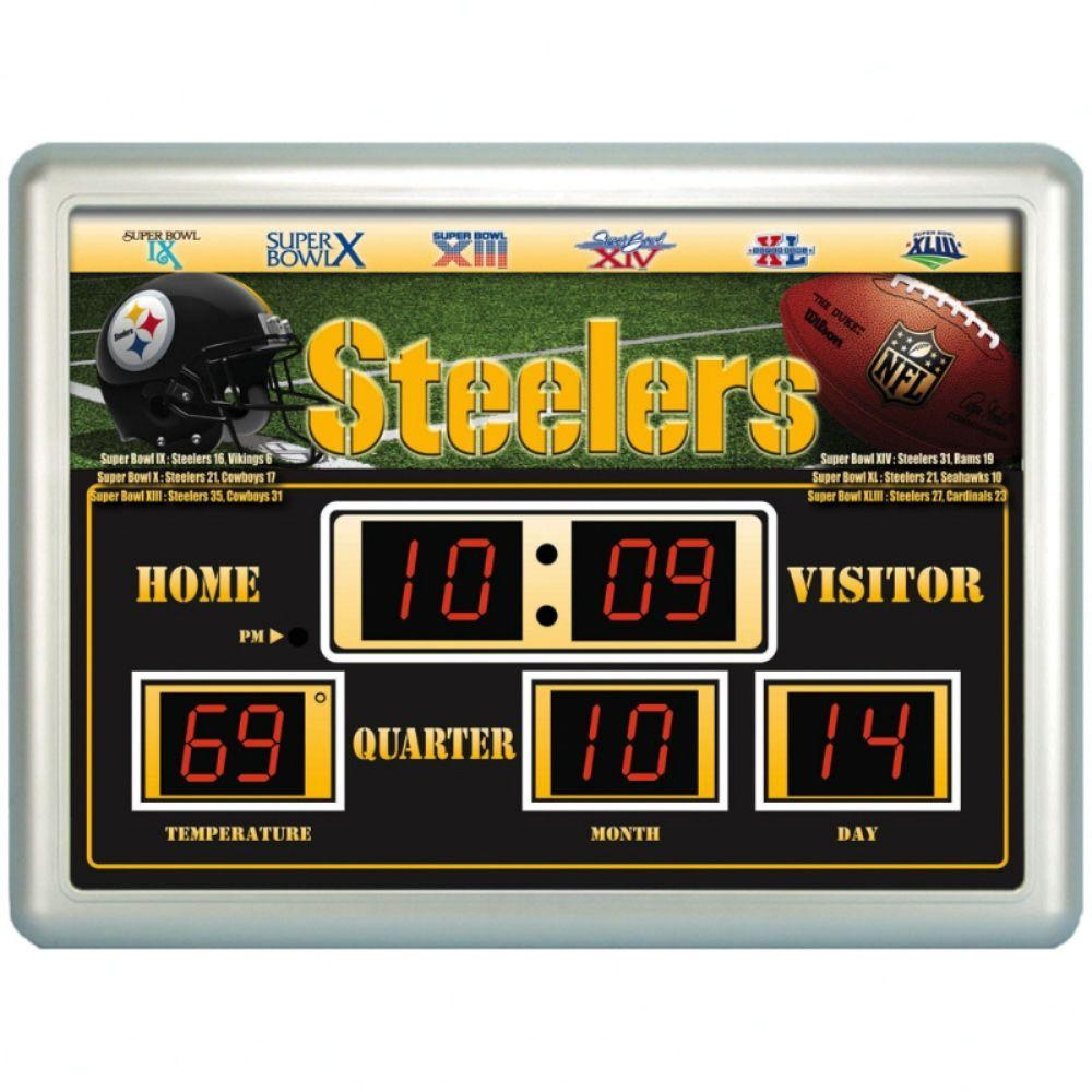 null Pittsburgh Steelers 14 in. x 19 in. Scoreboard Clock with Temperature