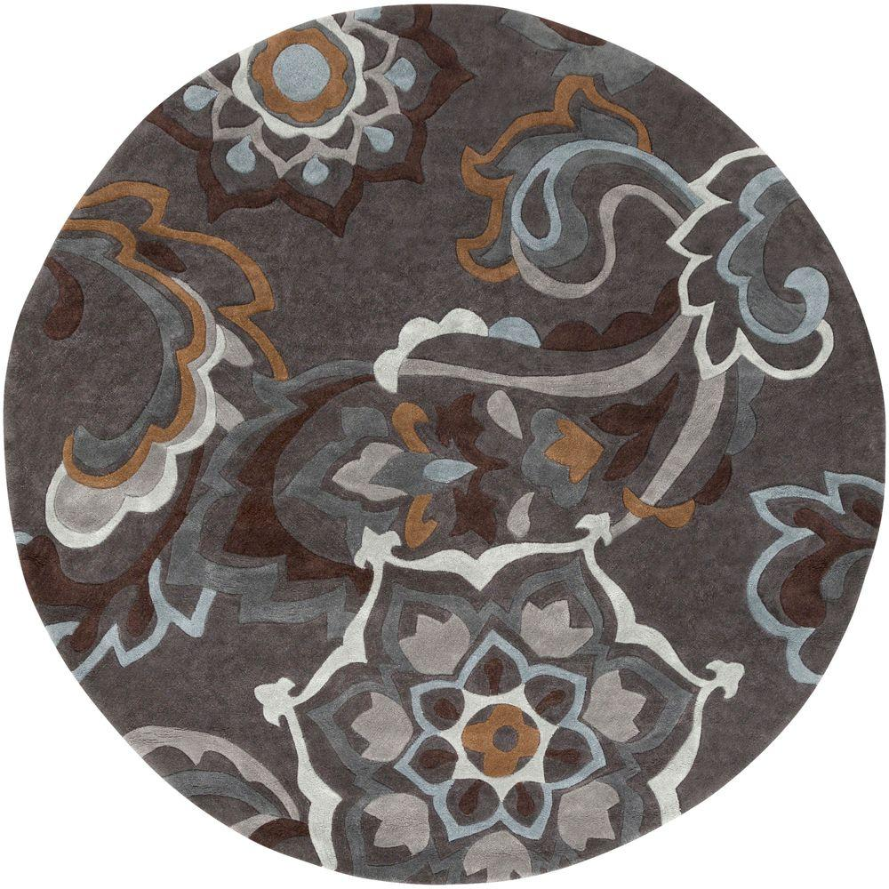 Orian Rugs Patterson Charcoal: Artistic Weavers Attalea Charcoal 8 Ft. X 8 Ft. Round