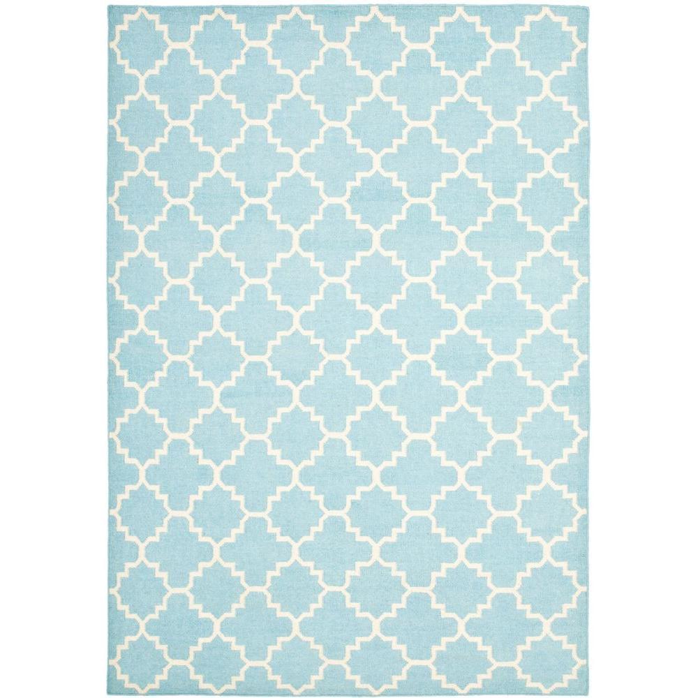 safavieh dhurries light blue/ivory 6 ft. x 9 ft. area rug-dhu554b