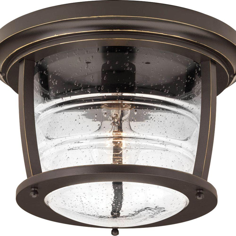 Progress Lighting Signal Bay Collection 1 Light Oil Rubbed Bronze Outdoor  Flushmount