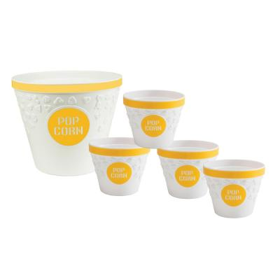 Plastic Popcorn Bucket and Popcorn Bowls in Yellow with Removable Kernel Catcher (Set of 5)
