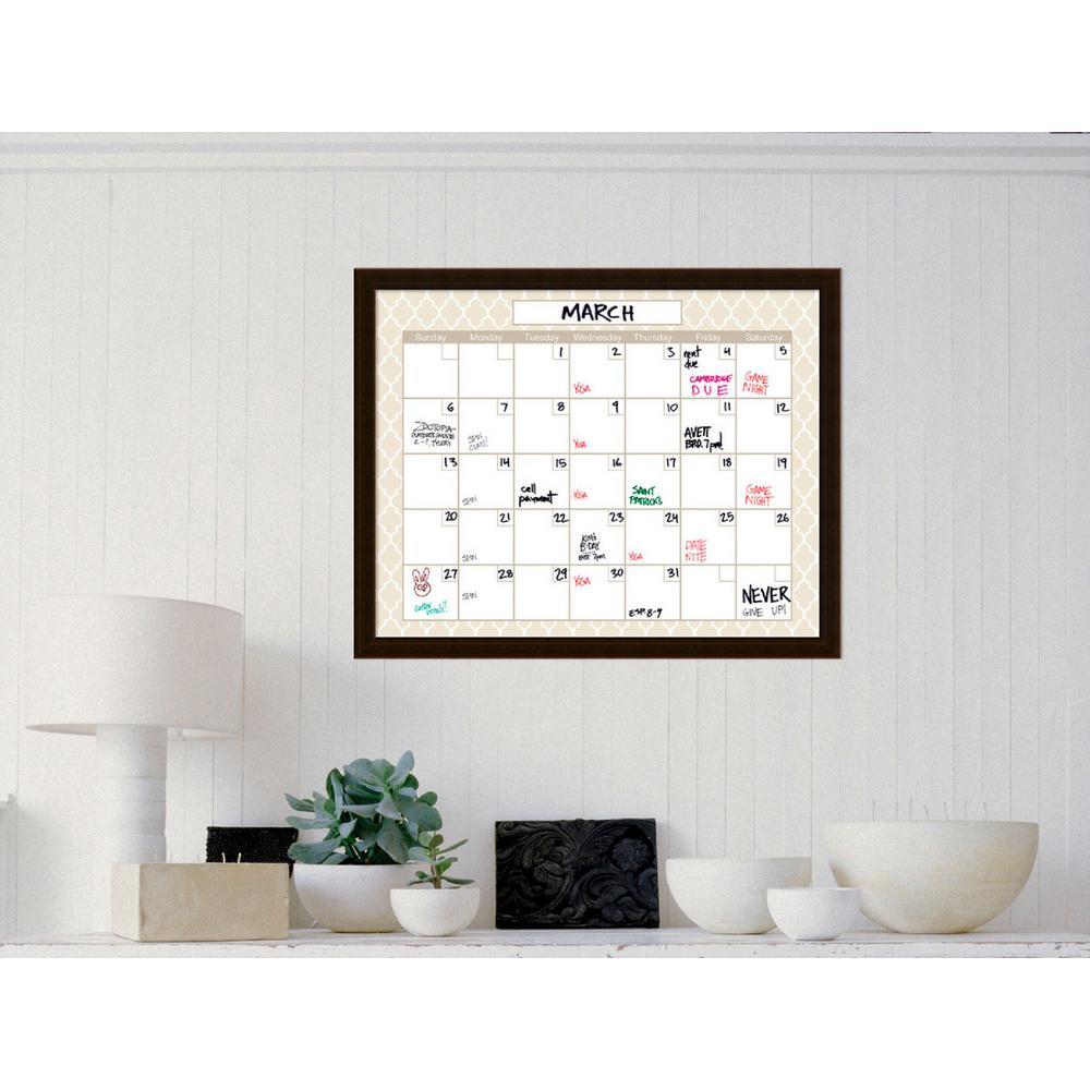 Beige Quatrefoil Calendar 30 in. W x 24 in. H Framed Glass Dry Erase Board