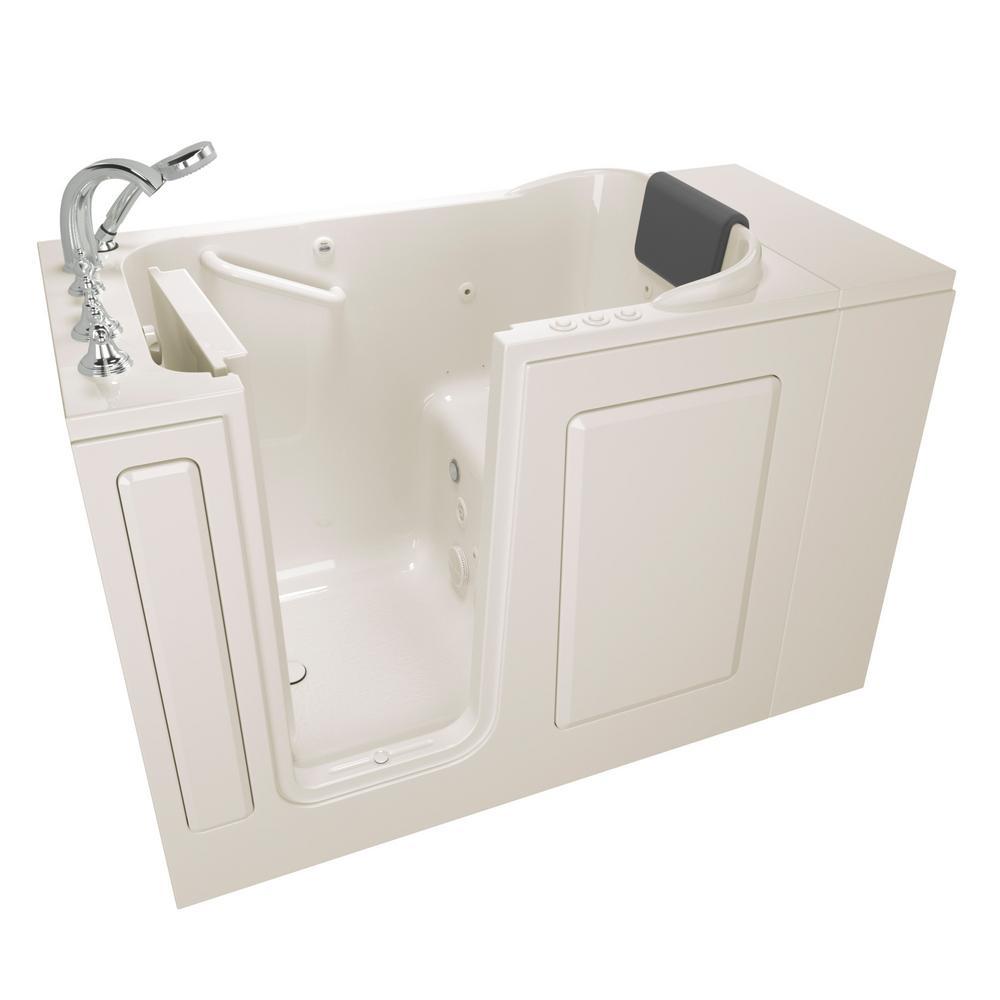 Gelcoat Premium Series 48 in. x 28 in. Left Hand Walk-In Whirlpool and Air Bathtub in Linen
