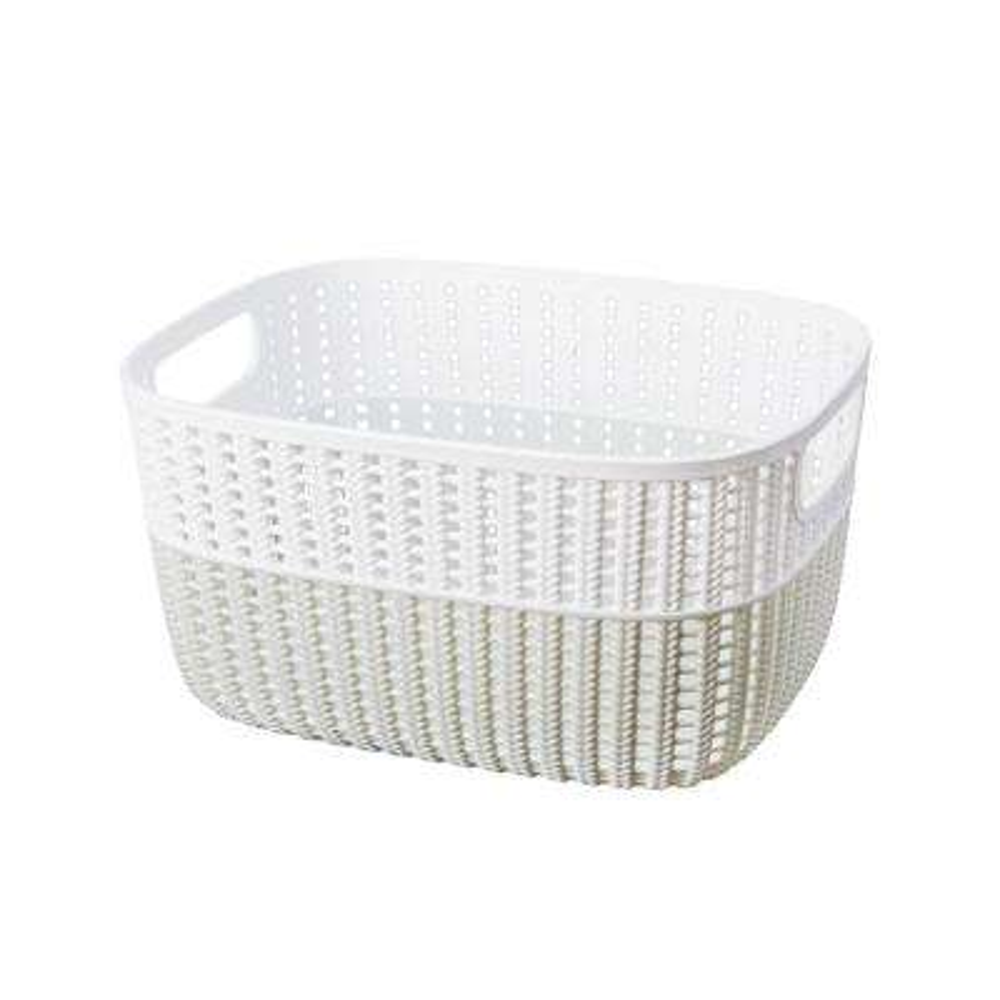 15 in. x 11 in. x 7 in. 2-Tone Decorative Large Storage Basket in Heather Grey