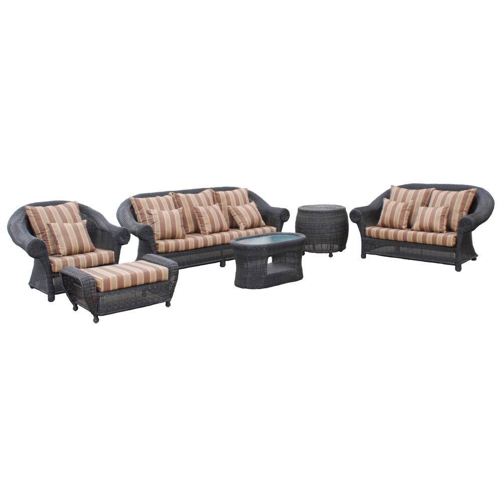 Cambridge 6-Piece Wicker Patio Deep Seating Set with Striped Cushions