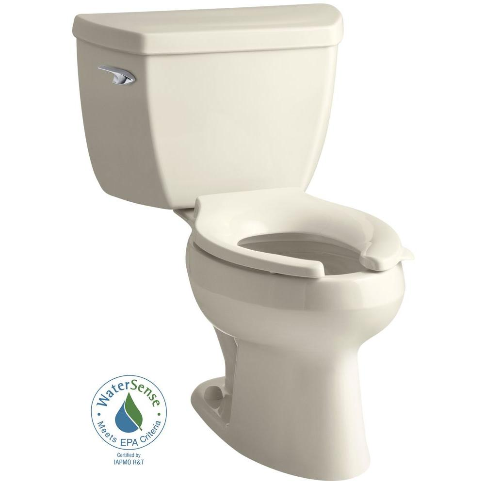 KOHLER Wellworth Classic 2-piece 1.0 GPF Single Flush Elongated Toilet in Almond