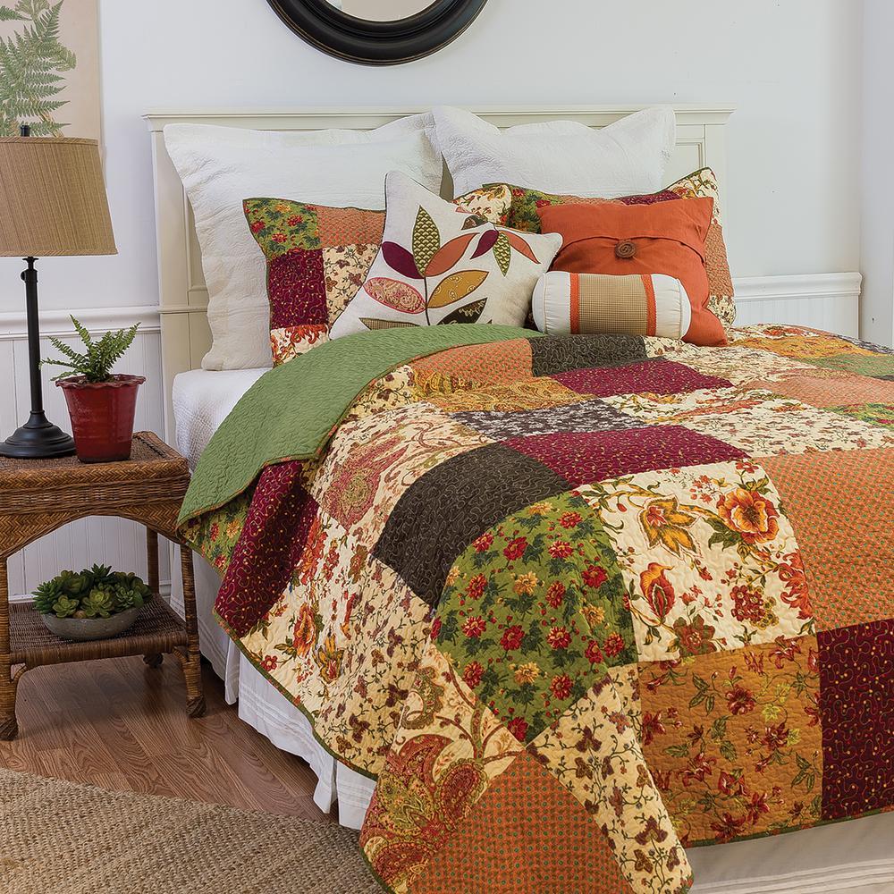 Orange Rustic Lodge Twin Quilt Set
