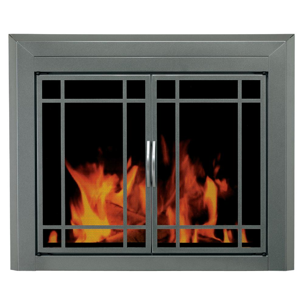 Pleasant Hearth - Arrington Large Glass Fireplace Doors - Save in energy bills year round with the addition of this item which is designed to sit outside of the fireplace opening against a flat surface.