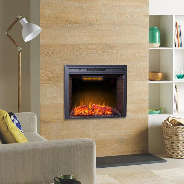Glitzhome 35 6 In Electric Fireplace Insert Ef33t The Home Depot