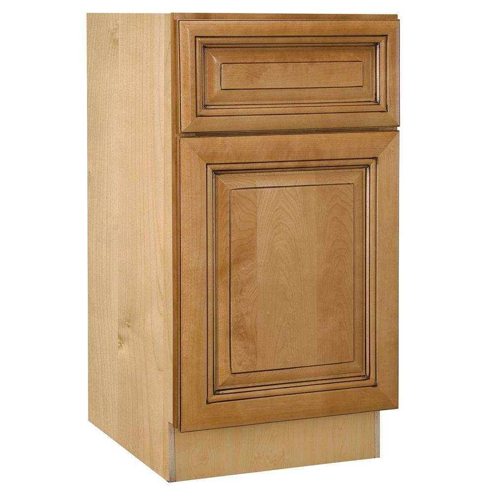 Home Decorators Collection Lewiston Assembled 12x34.5x21 in. Single Door & Drawer Hinge Right Base Vanity Cabinet in Toffee Glaze