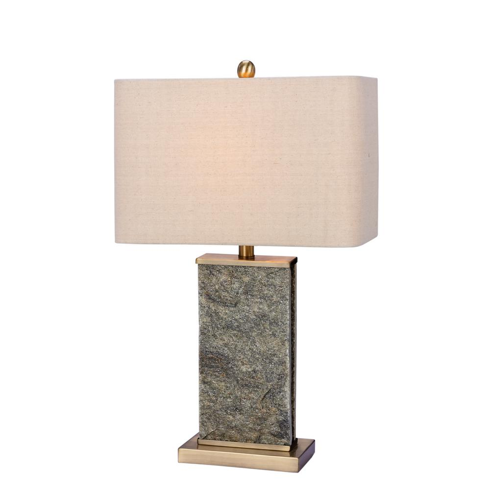Fangio lighting 26 in natural stone and antique brass stone and fangio lighting 26 in natural stone and antique brass stone and metal table lamp w 8970 the home depot geotapseo Choice Image