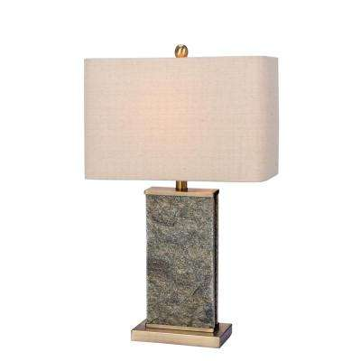 26 in. Natural Stone and Antique Brass Stone and Metal Table Lamp